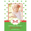 Polka Dot Printable Holiday Photo Card - Green