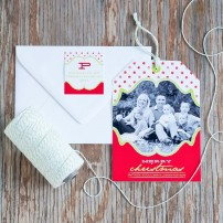 Polka Dots and Fancy Frame Holiday Photo Hangtag Printable Card - Red & Lime