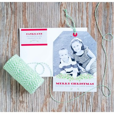 Faux Bois and Garland Holiday Christmas Printable Photo HANGTAG Card - Signature Design