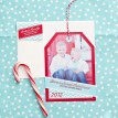 Holiday Photo Hangtag Printable Card - Aqua and Red Chevron - Signature Design