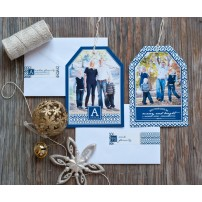 Navy, Gold and White Ikat Holiday New Years Photo Hangtag Card