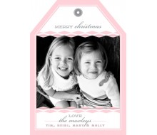 Diamond Holiday Christmas Photo Hangtag Card - Pink and Gray