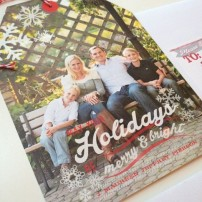 Snowflakes Merry and Bright Christmas Holiday New Years Photo Hangtag Card