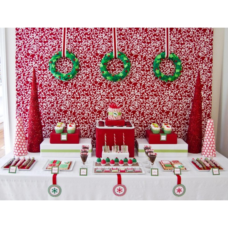 Traditional Christmas Party Ideas Part - 37: Classic Holiday Christmas Printable Party Collection - Instant Download