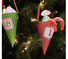 Classic Holiday Christmas Printable Advent Calendar Treat Cones - Instant Download