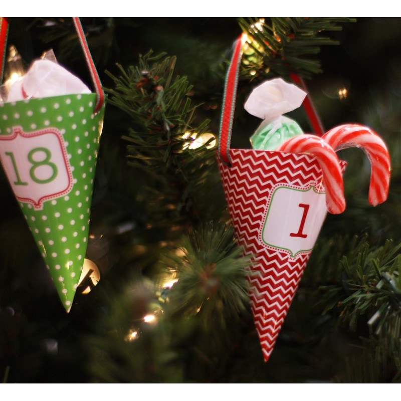 classic holiday christmas printable advent calendar treat cones instant download
