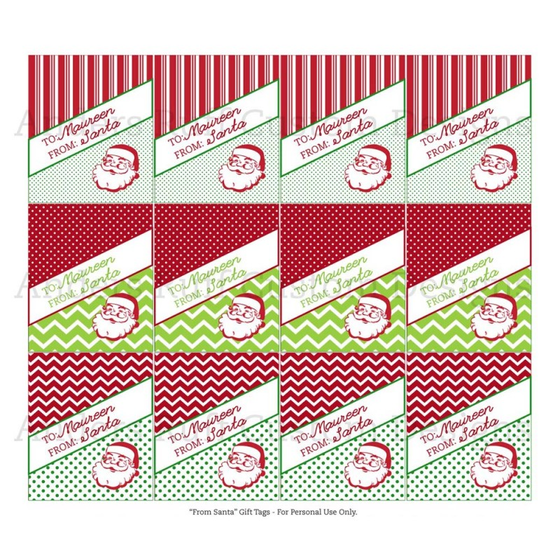 graphic relating to Personalized Gift Tags Printable known as Traditional Santa Printable Customized Reward Tags - The Clic