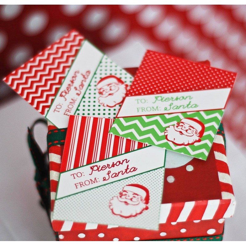 image regarding Personalized Gift Tags Printable titled Basic Santa Printable Tailored Reward Tags - The Clic
