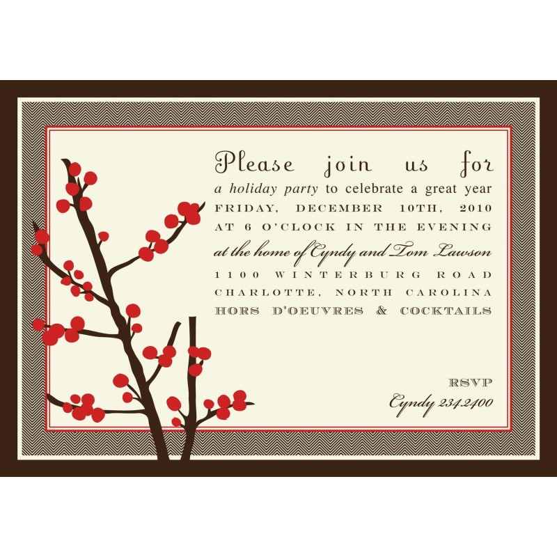 Berries Christmas Party Printable Invitation