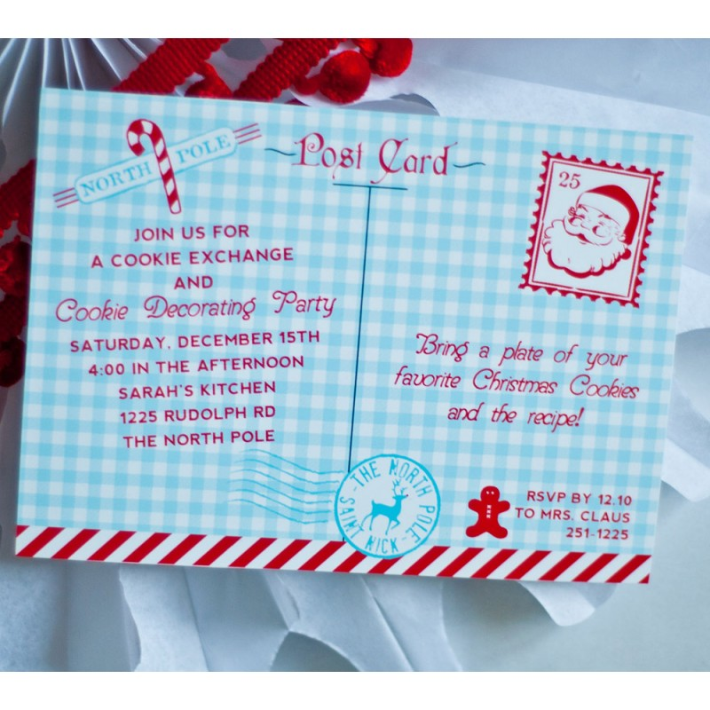Pole Christmas Cookie Exchange Party Printable Invitation