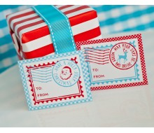 Vintage North Pole Printable Stamp Christmas Gift Tags - Instant Download
