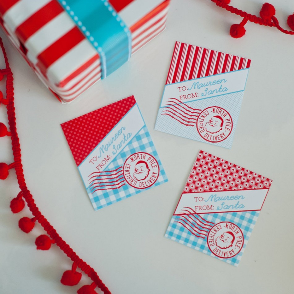 Vintage Santa Printable Personalized Gift Tags - The North Pole ...