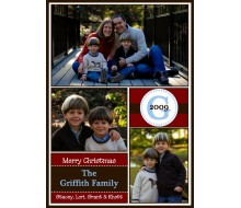 Monogram Christmas Photo Collage Holiday Printable Card