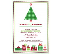 Vintage Christmas Tree Holiday Party Printable Invitation - Classic Colors