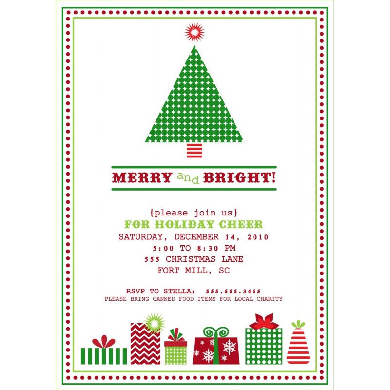 Vintage Christmas Tree Holiday Party Printable Invitation - Classic ...