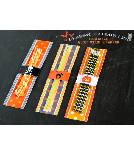 Classic Halloween Design Kit - Printable Glow Stick Wrappers - Instant Download
