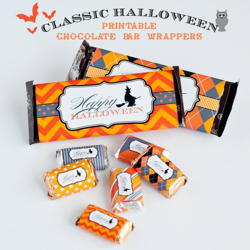 classic halloween design kit printable chocolate bar wrappers instant download