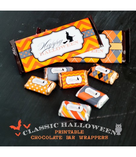 Classic Halloween Design Kit - Printable Chocolate Bar Wrappers - Instant Download