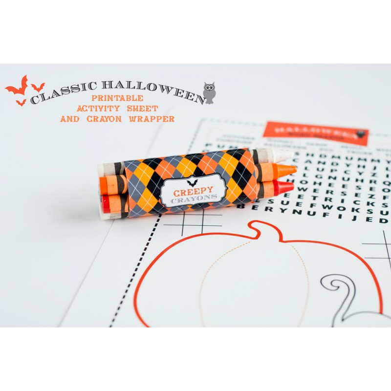 Halloween Design Kit - Printable Coloring Activity Page and Crayon ...