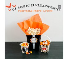 "Classic Halloween Design Kit - Printable 2"" Party Logos - Instant Download"