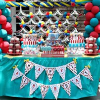 Vintage Clowning Around Carnival Birthday Party Printables Collection - Aqua and Red