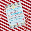 Vintage Clowning Around Carnival Birthday Party Printable Invitation - Aqua and Red