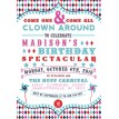 Vintage Clowning Around Carnival Birthday Party Printable Invitation - Hot Pink, Navy, Aqua and Red