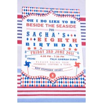 Vintage Clowning Around Seaside Carnival Printable Invitation - Red Navy