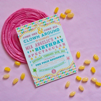 Vintage Clowning Around Carnival Birthday Party Printable Invitation - Pastels
