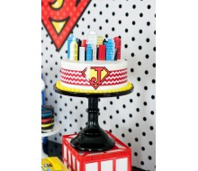 Vintage Comic Book Style Super Hero Buildings Cake Topper - Instant Download