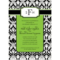 Contemporary Damask Monogram Printable Invitation - Green Black