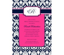 Contemporary Damask Monogram Printable Invitation - Pink Navy