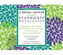 Contemporary Floral Printable Invitation - Green Blue