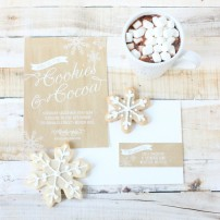 Rustic Cookies and Cocoa Christmas Cookie Exchange Party Printable Invitation