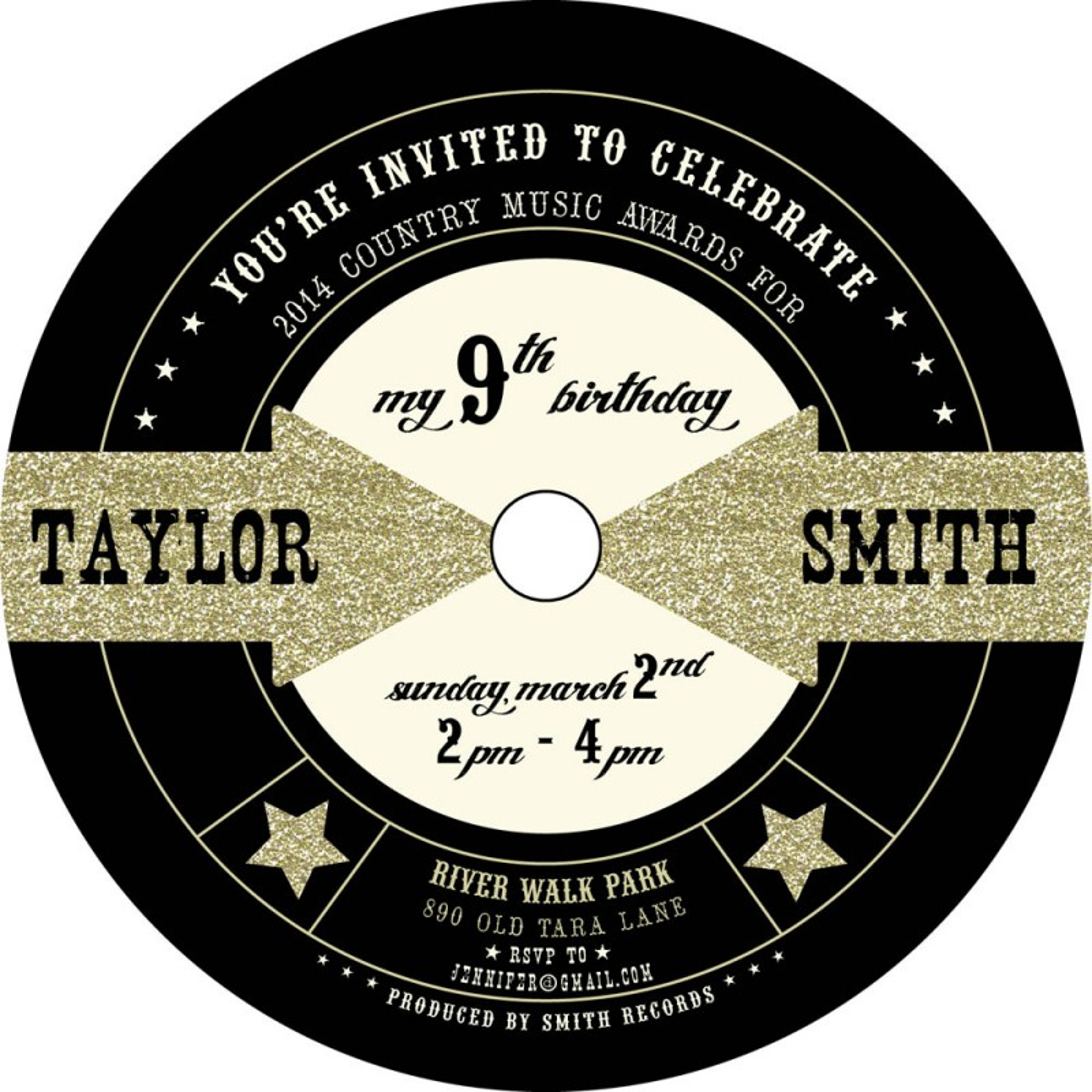 Glitter Music Pop Rock Star Themed Party Invitation – Rock Star Party Invitations