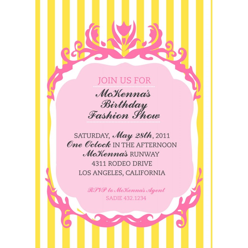 Fashion Show Birthday Party Printable Invitation