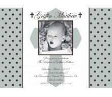 Holy Cross and Polka Dots Religious Baptism or First Communion Printable Invitation - Blue
