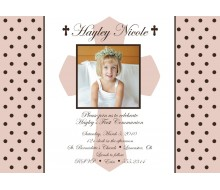 Holy Cross and Polka Dots Religious Baptism or First Communion Printable Invitation - Pink