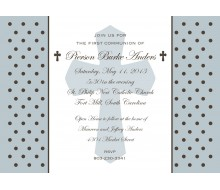 Holy Cross and Polka Dots Religious First Communion or Baptism Printable Invitation - Blue