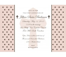Holy Cross and Polka Dots Religious First Communion or Baptism Printable Invitation - Pink
