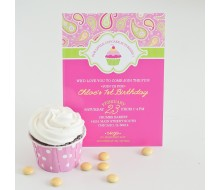 Cupcakes and Paisley Printable Birthday Party Invitation