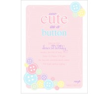 Cute as a Button Birthday Party or Baby Shower Printable Invitation