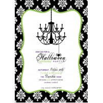Damask Chandelier Halloween Costume Party Printable Invitation