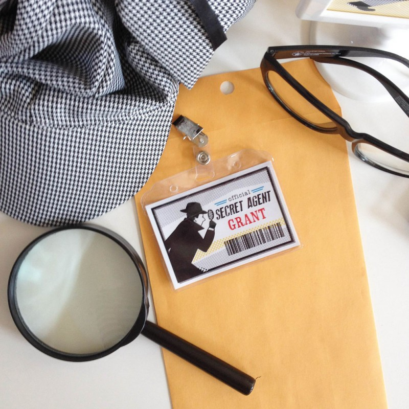 image regarding Secret Agent Badge Printable referred to as Detective Occasion Printable Personalized Top secret Representative Detective