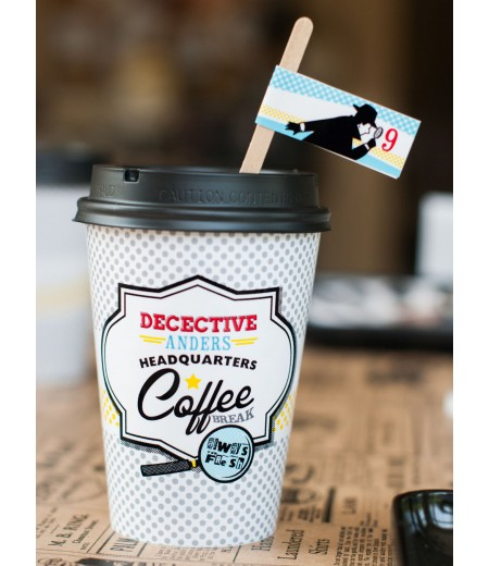 Detective Party Printable Coffee Cup Wrap