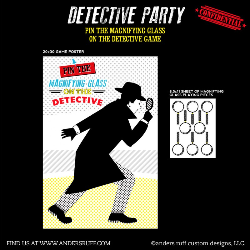 Detective Party Printable Pin The Magnifying Glass On The