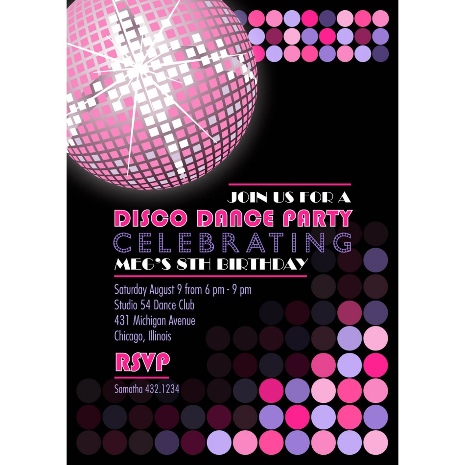 Disco Birthday Party Printable Invitation