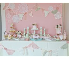 Vintage Pink Doily Tea Party Birthday Party Printables Collection
