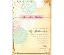 Vintage Pink and Aqua Doily Birthday Party or Shower Printable Invitation