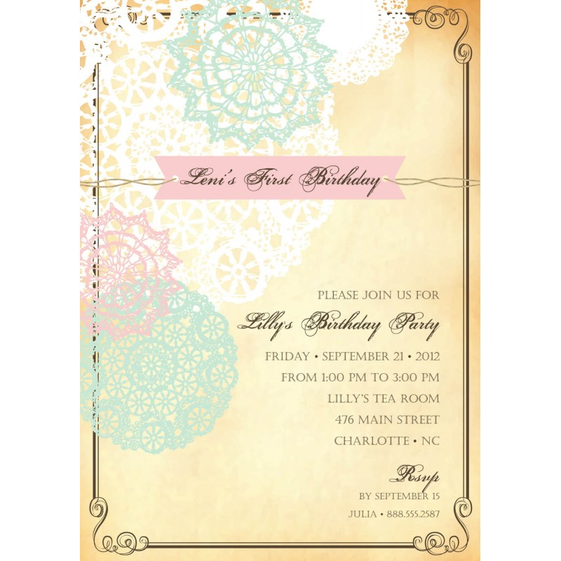 Pink And Aqua Doily Birthday Party Or Shower Printable Invitation